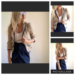 American Eagle 3/4 Sleeve Blazer Tan & Navy